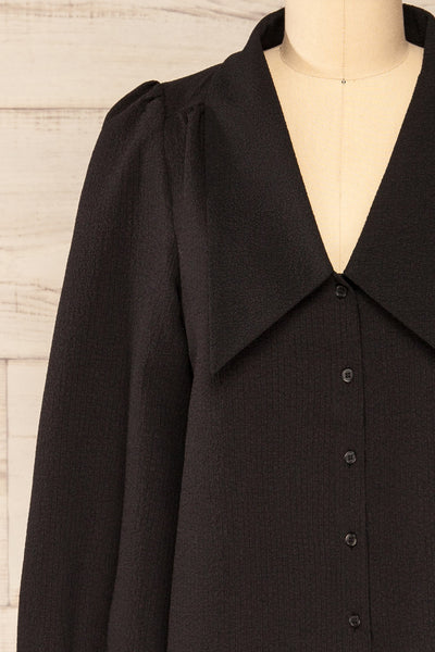 Falkeid Black V-Neck Buttoned Shirt | La petite garçonne  front close-up