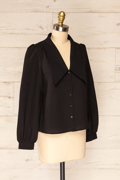 Falkeid Black V-Neck Buttoned Shirt | La petite garçonne  side view