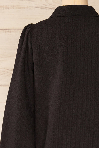 Falkeid Black V-Neck Buttoned Shirt | La petite garçonne  back close-up