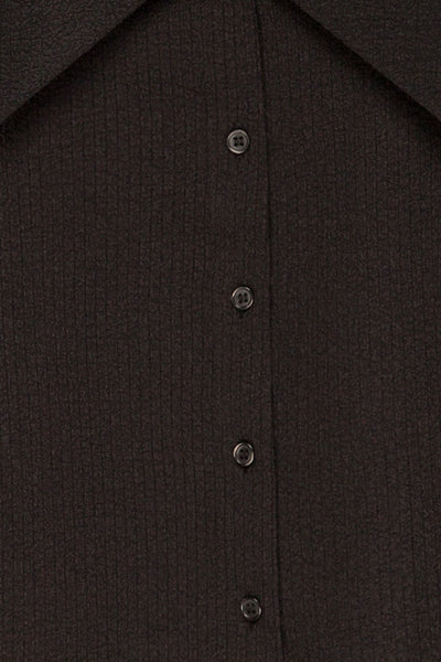 Falkeid Black V-Neck Buttoned Shirt | La petite garçonne  fabric