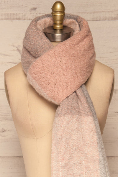 Falkenberg Grey & Pink Large Fuzzy Scarf| FRONT CLOSE UP | La Petite Garçonne