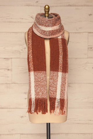 Falkenberg Marron Brown & Blush Fuzzy Scarf around | La Petite Garçonne