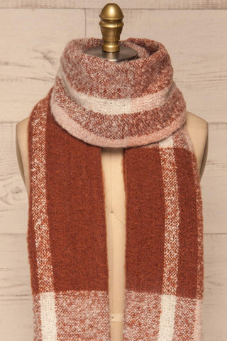Falkenberg Marron Brown & Blush Fuzzy Scarf around neck | La Petite Garçonne
