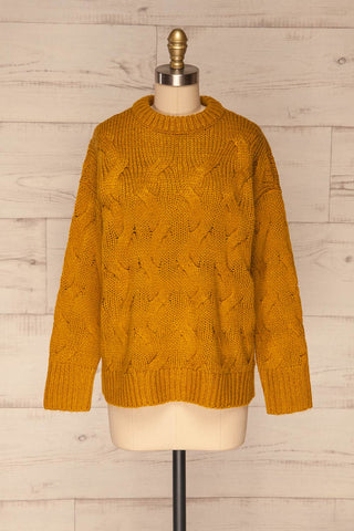 Falkhytta Yellow Mustard Oversized Knit Sweater | La Petite Garçonne front view