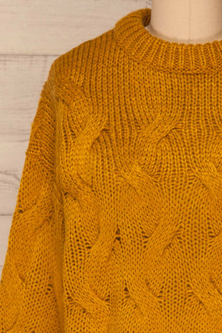 Falkhytta Yellow Mustard Oversized Knit Sweater | La Petite Garçonne front close-up