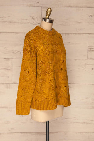 Falkhytta Yellow Mustard Oversized Knit Sweater | La Petite Garçonne side view