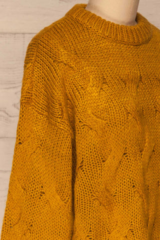 Falkhytta Yellow Mustard Oversized Knit Sweater | La Petite Garçonne side close-up