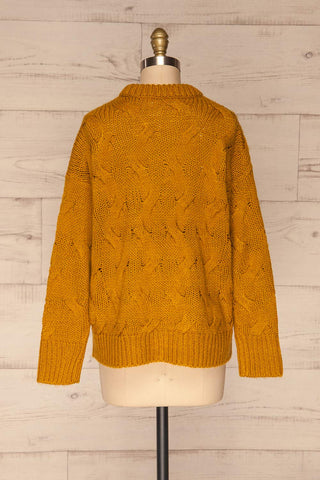 Falkhytta Yellow Mustard Oversized Knit Sweater | La Petite Garçonne back view