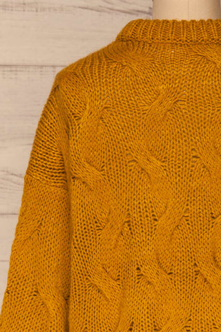 Falkhytta Yellow Mustard Oversized Knit Sweater | La Petite Garçonne back close-up