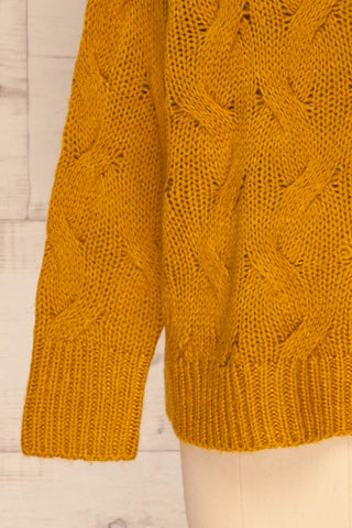 Falkhytta Yellow Mustard Oversized Knit Sweater | La Petite Garçonne bottom close-up