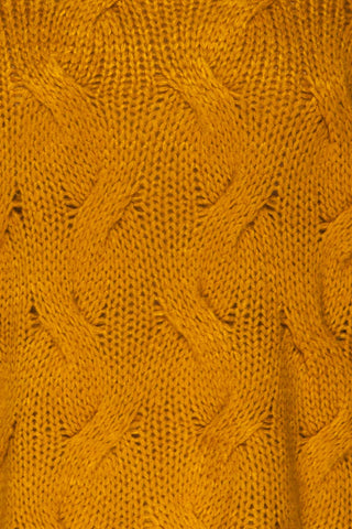 Falkhytta Yellow Mustard Oversized Knit Sweater | La Petite Garçonne  fabric detail