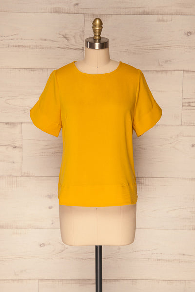 Fallet Yellow Boxy Short Sleeved Top | La Petite Garçonne front view