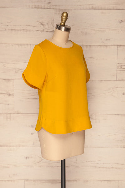 Fallet Yellow Boxy Short Sleeved Top | La Petite Garçonne side view