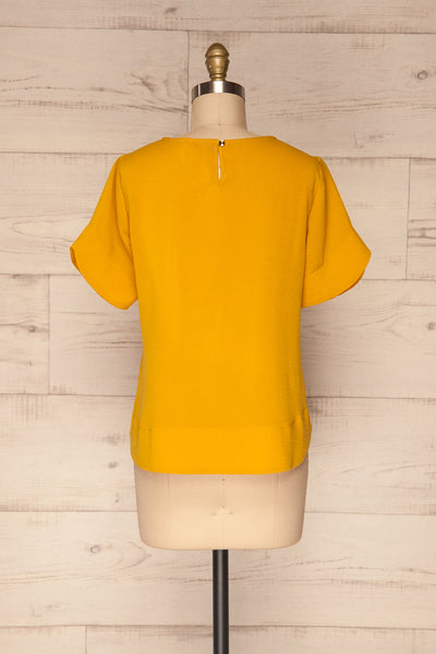 Fallet Yellow Boxy Short Sleeved Top | La Petite Garçonne back view