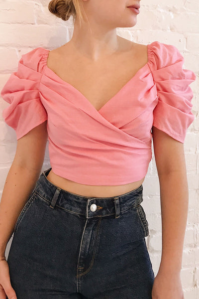 Fallviken Pink Crop Top w/ Puffy Sleeves | Boutique 1861 on model