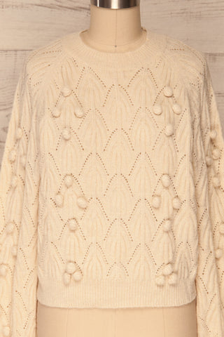 Fanavoll Beige Knit Sweater | La Petite Garçonne front close up