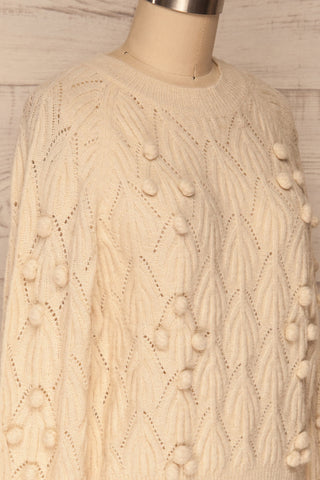 Fanavoll Beige Knit Sweater | La Petite Garçonne side close up