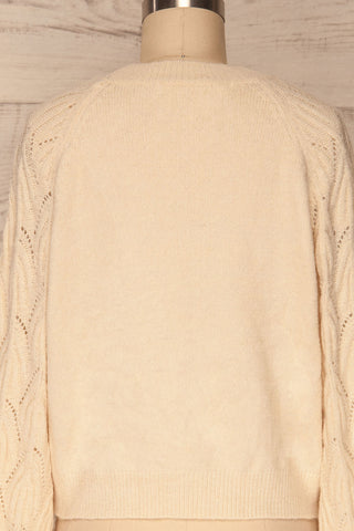 Fanavoll Beige Knit Sweater | La Petite Garçonne back close up