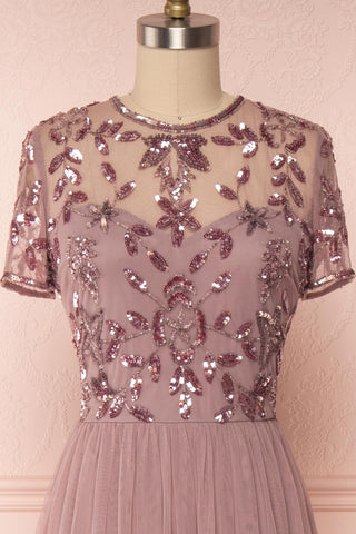 Fantine Lilac Sequin Flare Gown | Robe longue front close up | Boutique 1861