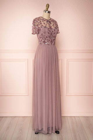 Fantine Lilac Sequin Flare Gown | Robe longue side view | Boutique 1861