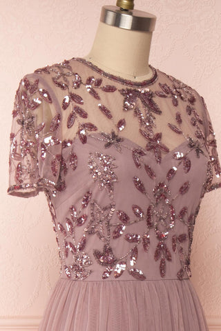 Fantine Lilac Sequin Flare Gown | Robe longue side close up | Boutique 1861