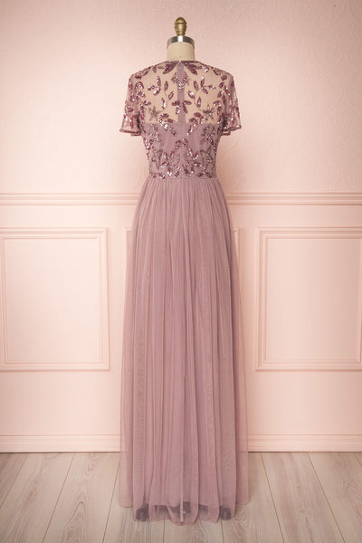 Fantine Lilac Sequin Flare Gown | Robe longue back view | Boutique 1861