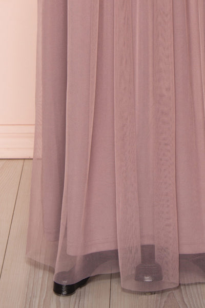 Fantine Lilac Sequin Flare Gown | Robe longue skirt close up | Boutique 1861