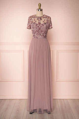 Fantine Lilac Sequin Flare Gown | Robe longue | Boutique 1861