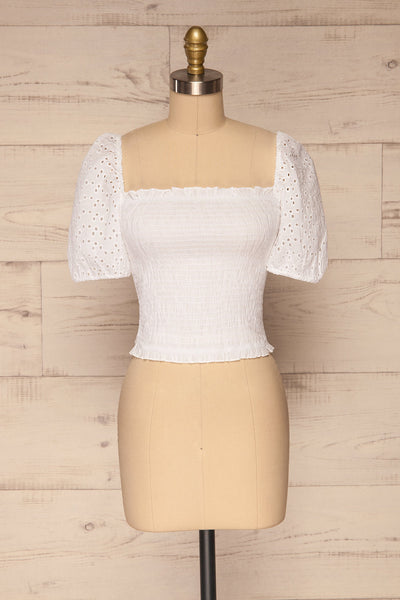 Faraas White Short Sleeve Ruched Top | La petite garçonne  front view