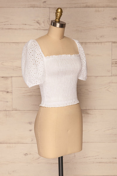 Faraas White Short Sleeve Ruched Top | La petite garçonne  side view