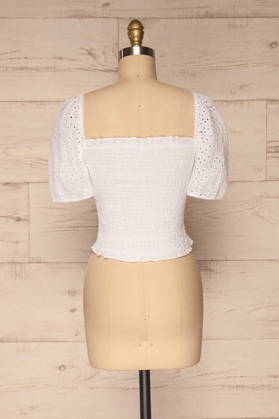 Faraas White Short Sleeve Ruched Top | La petite garçonne  back view