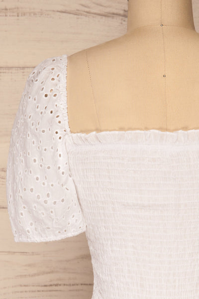 Faraas White Short Sleeve Ruched Top | La petite garçonne  back close-up