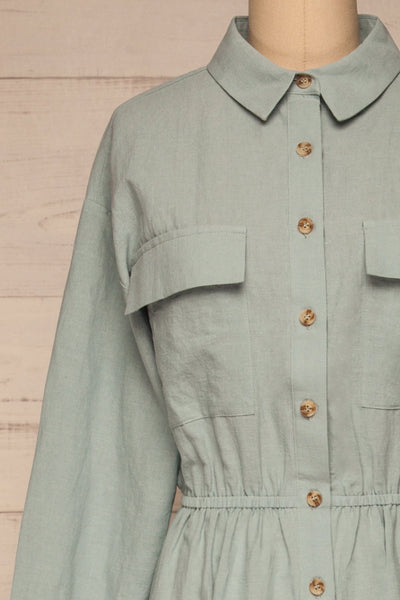 Fargermoen Light Blue Midi Shirt Dress | La petite garçonne front close-up
