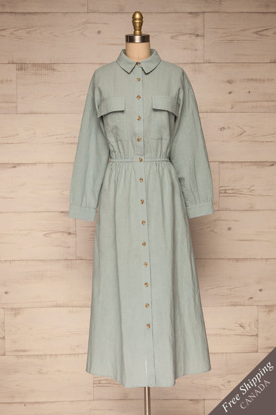 Fargermoen Light Blue Midi Shirt Dress | La petite garçonne front view