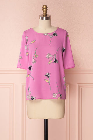Farhana Fucshia Floral Pattern Loose Chiffon Top | Boutique 1861
