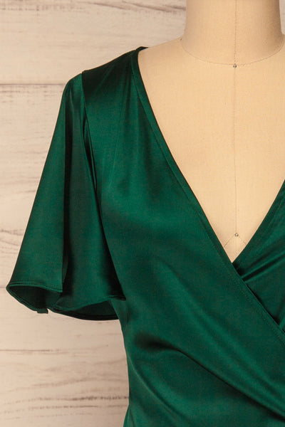Fasano Green Short Silky Wrap Dress | La petite garçonne front close-up