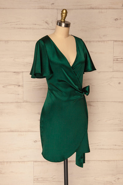 Fasano Green Short Silky Wrap Dress | La petite garçonne side view