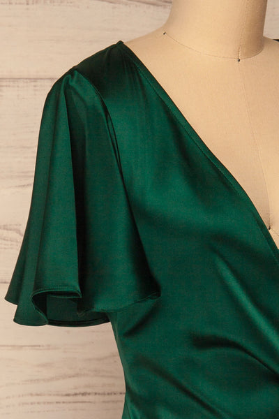 Fasano Green Short Silky Wrap Dress | La petite garçonne  side close-up