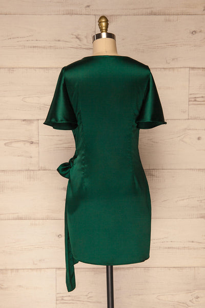 Fasano Green Short Silky Wrap Dress | La petite garçonne  back view