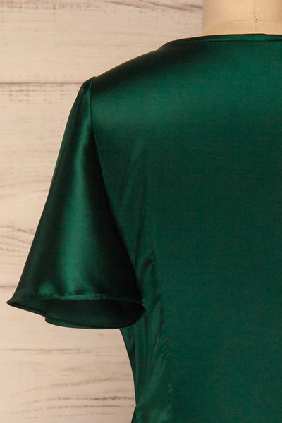 Fasano Green Short Silky Wrap Dress | La petite garçonne back close-up