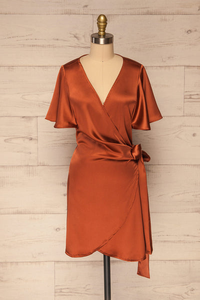 Fasano Rust Short Silky Wrap Dress | La petite garçonne front view