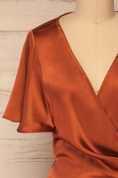 Fasano Rust Short Silky Wrap Dress | La petite garçonne front close-up