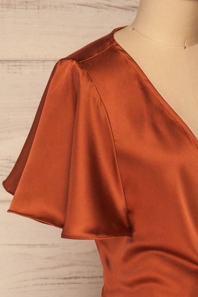 Fasano Rust Short Silky Wrap Dress | La petite garçonne side close-up