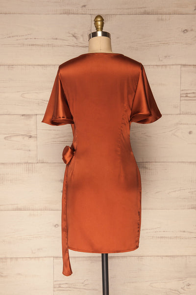Fasano Rust Short Silky Wrap Dress | La petite garçonne back view