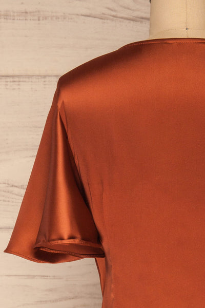 Fasano Rust Short Silky Wrap Dress | La petite garçonne back close-up