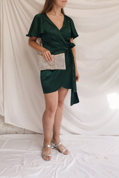 Fasano Green Short Silky Wrap Dress | La petite garçonne model look 2