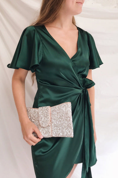 Fasano Green Short Silky Wrap Dress | La petite garçonne on model