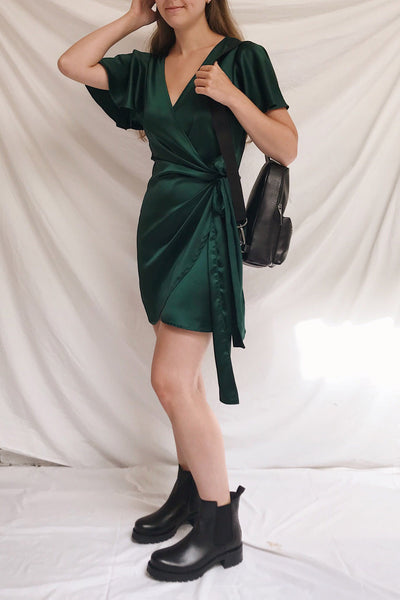 Fasano Green Short Silky Wrap Dress | La petite garçonne model look