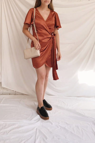 Fasano Rust Short Silky Wrap Dress | La petite garçonne model look