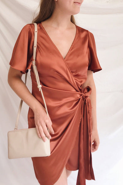 Fasano Rust Short Silky Wrap Dress | La petite garçonne on model